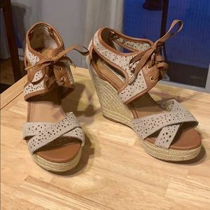 Suede lace up wedges